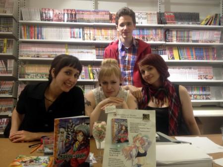 Hela Nosebleed Studio, från vänster Natalia Batista, Alice Engström, Catarina Batista och längst bak Joakim Waller. Foto: Malinda Lindmark