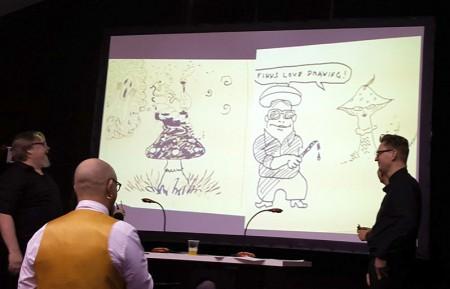 """Torsdagen avslutades med ett """"seriebattle"""", där nordiska lag tävlade om att tolka publikens förslag på teman på bästa sätt. Ett välbesökt evenemang som lyfte fram nordiska serieskapare och den nordiska seriekulturen för den franska publiken."""