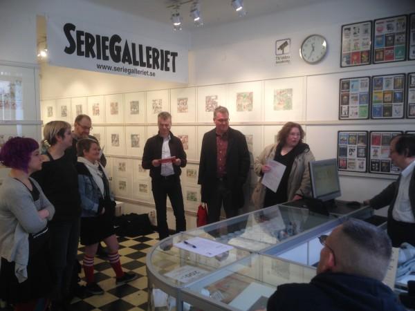 Seriefrämjandets årsmöte på Seriegalleriet 2017. Foto: David Haglund